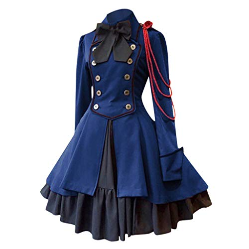 Hunauoo Cosplay Costume Women Vintage Gothic Court Square Collar Bow Patchwork Princess Dress Blue
