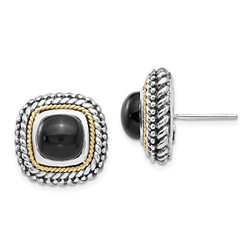 Gold Tone Onyx Earrings - Shey Couture 925 Sterling Silver with Gold-Tone Accent Cabochon Onyx Post Stud Earrings, 16 MM