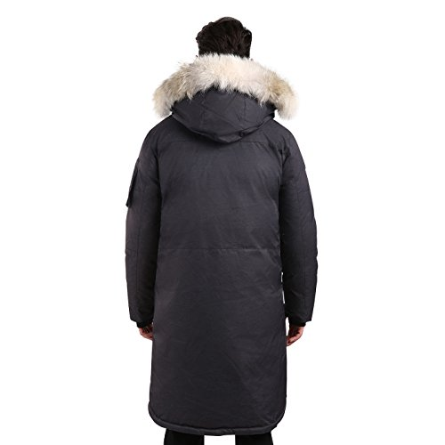 Triple F.A.T. Goose SAGA Collection | Eberly II Mens Hooded Goose Down Jacket Parka with Real Coyote Fur (2XL, Charcoal) by Triple F.A.T. Goose (Image #5)