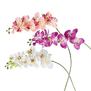 ROSENICE Fake Flower Artificial Butterfly Orchid Flower Plant Home Decoration 3pcs 101
