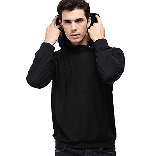 Pengy Men's Long Sleeve Zipper Solid Hoodie Sweatshirt Tops (M, Black)