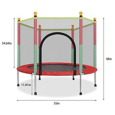 Midress Kids Trampoline 5FT Trampoline with Safety Enclosure Net Jumping Mat and Spring Cover Padding Zipper Indoor/Outdoor Chlidren Mini Trampoline : Clothing