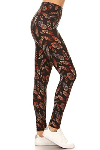 LY5X-S562 Tidal Leaves Yoga Print Leggings, Plus Size