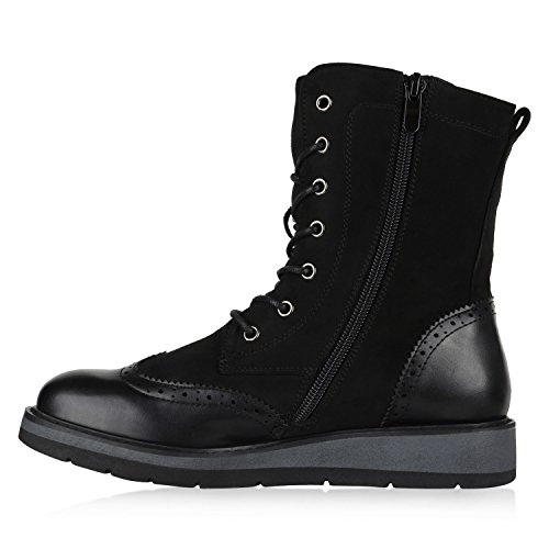 Stiefelparadies Damen Plateau Sneaker High Warm Gefütterte Sneakers Wildleder-Optik Winter Schuhe Plateauschuhe Schnürer Flandell Schwarz Black Brooklyn