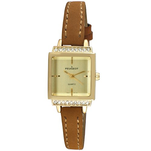 (Peugeot Women's 14K Gold Plated Small Petite Faceted Crystal Thin Tan Beige Brown Suede Band Luxury Watch 3047G)