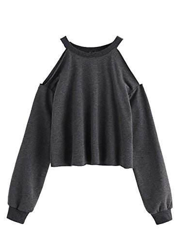 ROMWE Women's Open Cold Shoulder Top Long Sleeve Heathered Pullover Tee Shirt Grey S