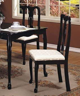 Amazon Com Set Of 2 Black Queen Anne Style Wood Dining Chairs Chairs
