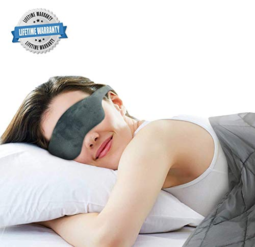 Advanced Weighted Sleep Mask with Adjustable Head Strap - Premium Double-Sided Light-Proof Weighted...