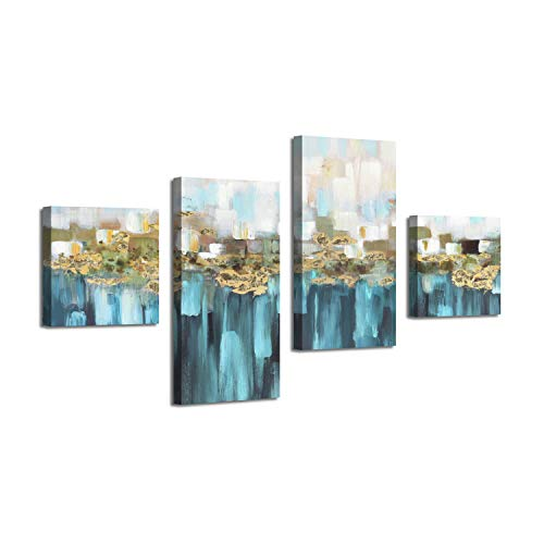 Abstract Skyline Picture Reflection Arts: Gold Foil Graphic Art Print on Canvas for Wall Decor