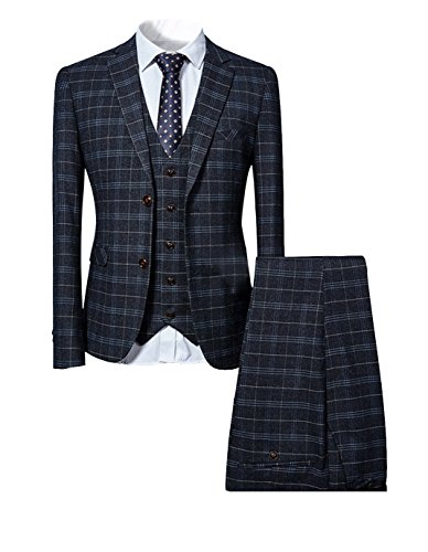 Mens 3 Piece Slim fit Checked Suit Blue/Black Single Breasted Vintage Suits for $<!--$98.99-->