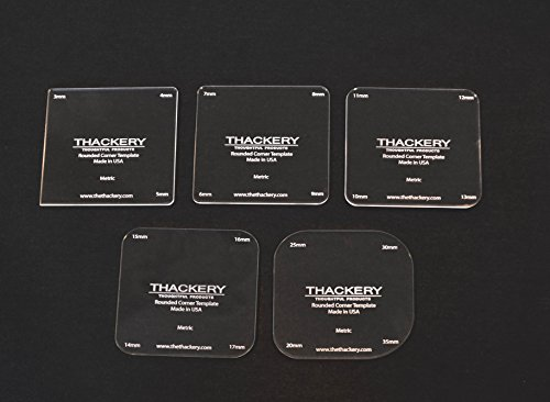 Thackery Rounded Corner Template - METRIC- complete set of 5 templates - 20 sizes - 3mm to 30mm (Rounded Corner Templates)
