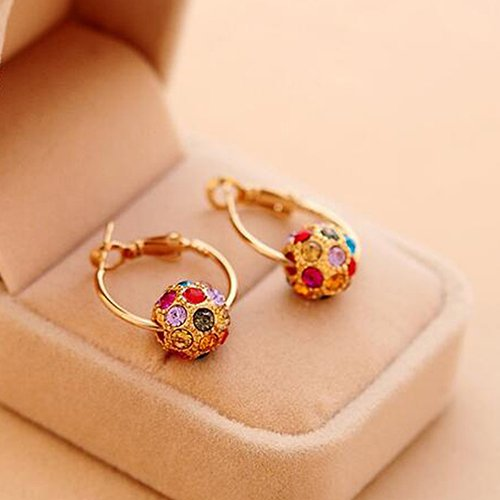 Butterfly Iron Earrings, Women's Colorful Rhinestone Lucky Ball Pendant Huggie Leverback Earrings Cocktail Party Jewelry ()