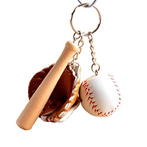 starlit Fashion Modern Jewelry Mini Baseball Bat Glove Set Faux Leather Wood Key Chain Keyring