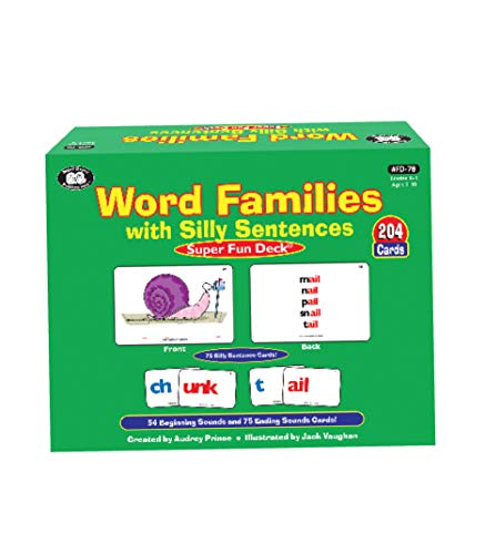 Super Duper Publications Word Families with Silly Sentences Fun Deck Flash Cards Educational Learning Resource for Children (Word Families Cards)