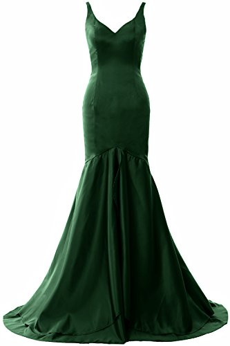 MACloth Women Mermaid V Neck Satin Long Prom Dress Tiered Formal Evening Gown Verde Oscuro