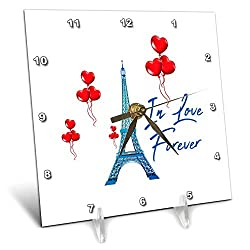 3dRose Alexis Design - Cities of The World - Blue Eiffel Tower, red Heart Shaped Balloons, in Love Forever Text - 6x6 Desk Clock (dc_303157_1)