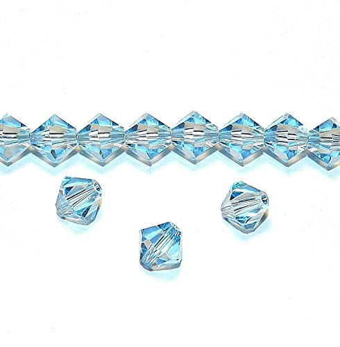 Bead Jewelry Making Aquamarine Blue 6mm Faceted Bicone Crystal Beads 24pc