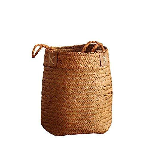 SeedWorld Storage Baskets - Hand-Woven Seagrass Storage Basket Nordic Simple Fruit Gardening Storage Bag Box Hamper Organizer Garden Flower Pot Planter 1 PCs (Hampers Wicker Wholesale)