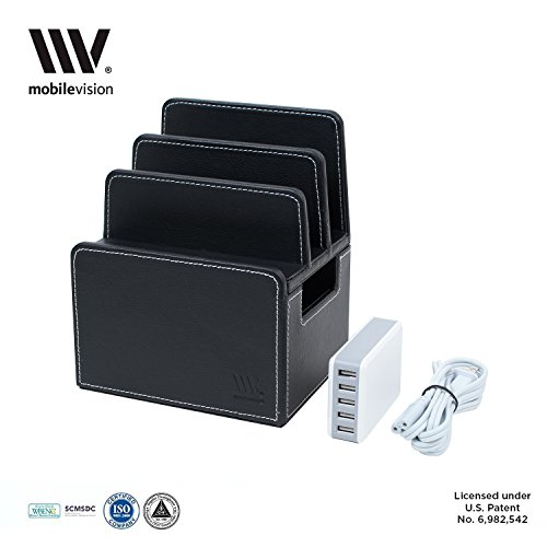 MobileVision Compact/Personal Charging Station in Executive Faux Leather for Smartphones and Tablets, INCLUDES 5-USB Charging Strip - Executive Charging Station
