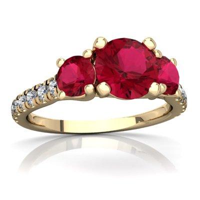 14K Yellow Gold Lab Ruby and Diamond Round Pavé Trellis Ring - Size 5 ()