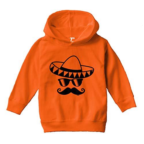 Tcombo Sombrero & Mustache - Mexico Mexican Toddler/Youth Fleece Hoodie (Orange, Medium (Youth)) ()