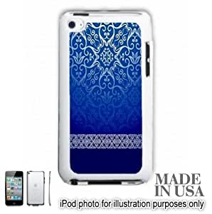 Live the Life You Love (Not Actual Glitter) - Vintage Blue Gold Damask Pattern Lace iPOD 4 Touch 4th Generation Hard Case - WHITE by Unique Design Gifts