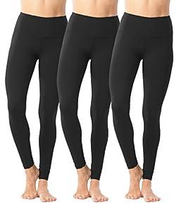 90 Degree By Reflex High Waist Power Flex Legging – Tummy Control - Black 3 Pack - Large
