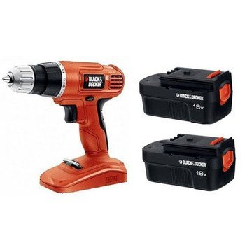 Black & Decker 18V Cordless Power Drill/Driver With 2 Bat...