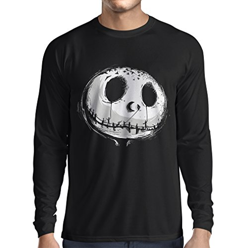 Long sleeve t shirt men Scary Skull Face - Nightmare - Halloween outfit party costumes (Medium Black Multi (Plus Size Halloween Outfits Uk)