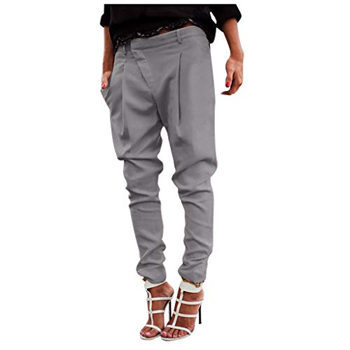 TIFENNY Loose Pencil Pants for Women Casual Fashion Plus Size Pure Color Pocket Trousers Asymmetrical Pants Gray]()