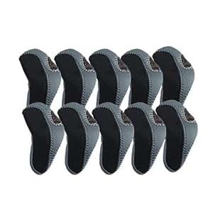 Elixir Golf Iron Club Head Covers-Set of 10, Black/Gray
