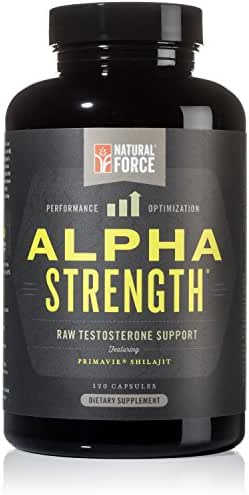All Natural Testosterone Booster Alpha Strength, Aggressive Test Supplement for Men*, Best for Muscle Growth and Strength, with Fulvic Minerals from Shilajit Extract by Natural Force, 120ct