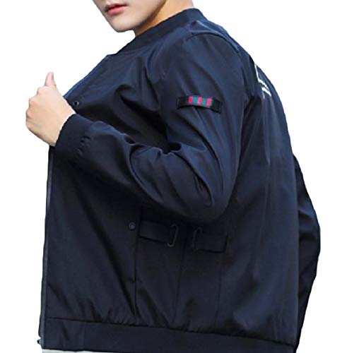 Black Coat Outwear Zip Plus Stand Casual XINHEO Size Long Men's Collar Splicing Sleeve x4fqWw7PU