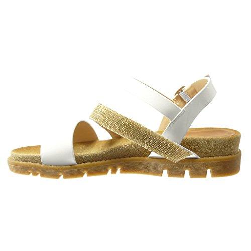 Angkorly - Chaussure Mode Sandale Mule femme bijoux multi-bride lanière Talon compensé 4 CM - Blanc