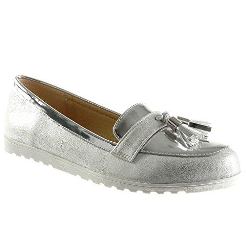 Angkorly - damen Schuhe Mokassin - Slip-On - Franse - Bommel - Patent flache Ferse 1.5 CM - Silber