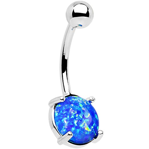 Body Candy Solid 14k White Gold 8mm Oval Blue Synthetic Opal Belly Ring