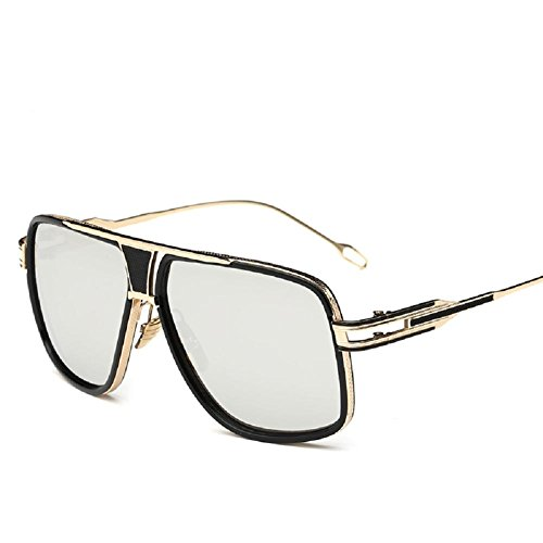 AOME Square Aviator Sunglasses Metal Frame Goggle Brand Designer (Gold&Silver, - Sunglasses Frame Square Mens