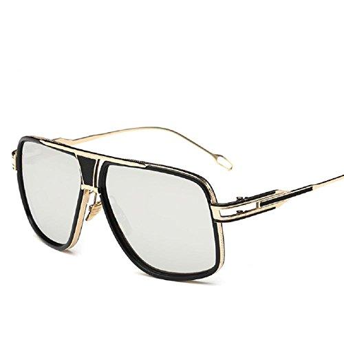 AOME Square Aviator Sunglasses Metal Frame Goggle Brand Designer (Gold&Silver, - Fashionable Sunglasses