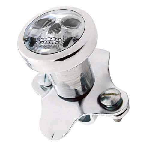 TrickToppers Billet Aluminum Polished Steering Wheel Spinner Suicide Brody Knob for Hot Rod Customs Car Truck SUV Tractor Trailer Big Rig Boat and More - Vintage Grey Skeleton Skull Face