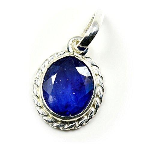 Genuine Blue Sapphire Pendant (55Carat Natural Genuine Blue Sapphire Pendant 3 Carat Oval In 92.5 Sterling Silver)