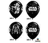 Qualatex Star Wars Biodegradable Latex Balloons Onyx Black with White Prints All-Around of Darth Vader and Yoda, 11-Inch Round (12-Units)
