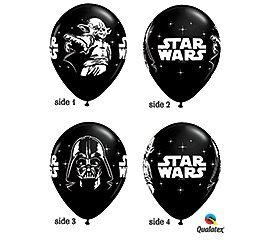 Qualatex Star Wars Biodegradable Latex Balloons Onyx Black with White Prints AllAround of Darth Vader and Yoda 11Inch Round 12Units