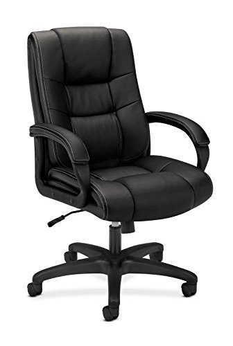 basyx by HON Executive Desk Chair - High-Back Upholstered Office Chair for Computer, Black (HVL131)