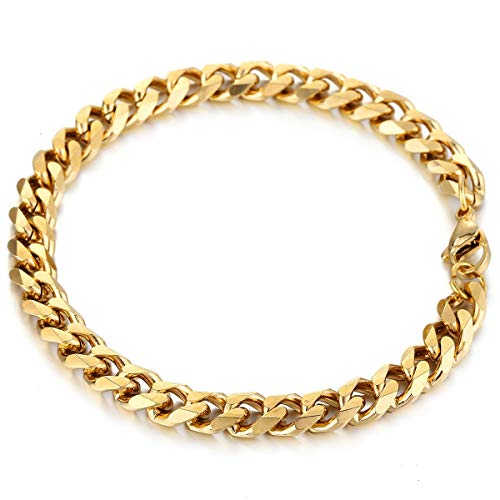 Trendsmax Stainless Steel Curb Cuban Link Chain for Men Boys Hip Hop Rapper Bracelet Gold 9 Inch