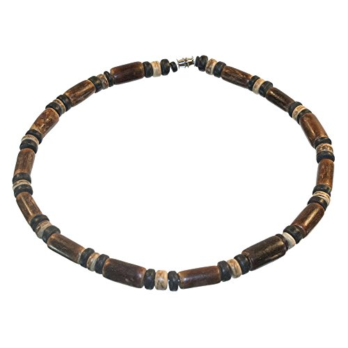 Sigid Tube and Coco Bead Necklace, Barrel Lock (18 IN)