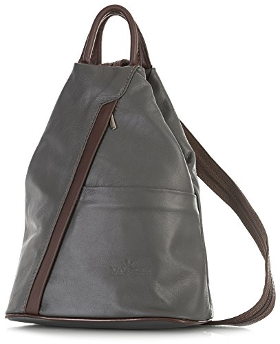 Small Bag Convertible Strap Rucksack LIATALIA Grey Trim Brown Unisex Leather Backpack Italian Duffle ALEX Dark Soft qRwRYBHxv