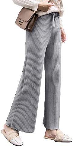 2TYPE 9分丈ワイドパンツ/リブニットワイドパンツ 締め付け感なくストレスフリー ワイドパンツ ニット 美脚パンツ 韓国ファッション ゆったり レディース