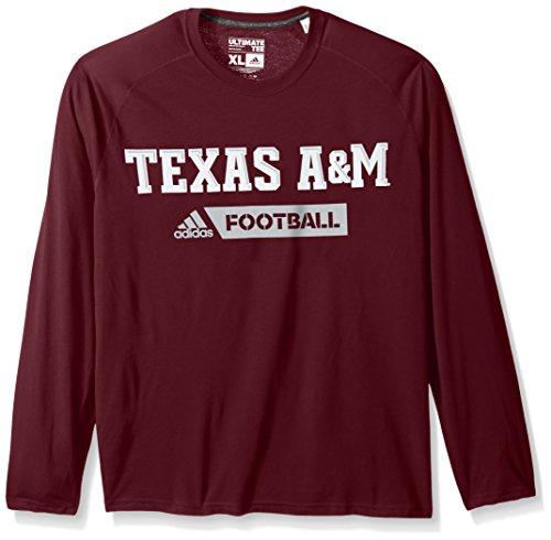 adidas NCAA Texas A&M Aggies Adult Men Sideline Gridiron Ultimate L/S Tee, Small, Maroon ()