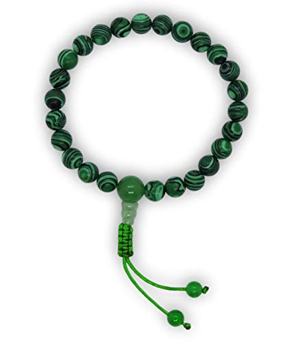 - Hands Of Tibet Pressed Malachite Wrist mala Yoga Healing Beads Bracelet for Meditation (Guru- Bead)