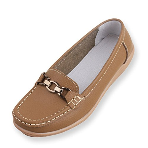 York Zhu Loafers Shoes for Women, Metal Buckle Slip on Round Toe Shoes